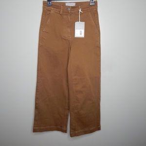 everlane women wide leg crop pants sz 0 tan